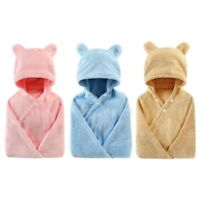 Baby Hooded Bath Towel Cute Bear Microfiber Super Absorbent Thick Baby Bath P9W2
