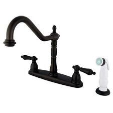 "Oil Rubbed Bronze 8"" Centerset Kitchen Faucet with White Sprayer"