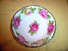 Antique Germany Porcelain Bowl Pink & Yellow Roses Gold Trim 8 inch