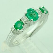 1.35 ct 14k Solid White Gold Ladies Natural Emerald Diamond Ring May Birthstone