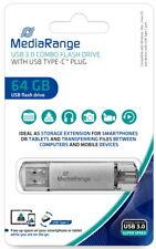 Mediarange USB Stick 64GB Speicherstick Combo silber Typ C USB 3.1