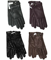 $395 Ralph Lauren Purple Label Womens Solid Leather Cashmere Buckle Gloves New