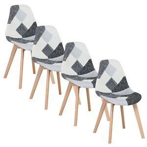 4Pcs Patchwork Fabric Dining Chairs - Padded Seat - Wooden Legs Black WHite Grey