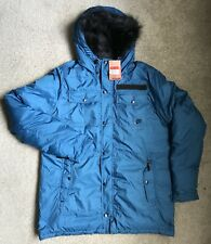 Nike Mens Insulated Down Parka Blue Jacket 550 Fill Down Size: L NEW