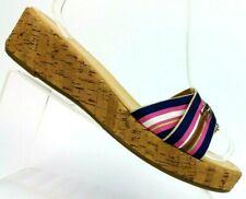 Talbots Navy/Pink Striped Cork Wedge Slide Platform Sandals Women's US 10