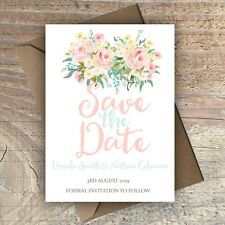 Personalised Save the Date Wedding Cards BLUSH FLORAL packs of 10