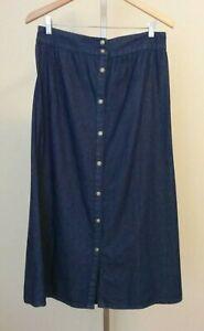 NWT Studio West Apparel Blue Denim Button Front A-Line Skirt Size Medium
