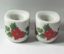 Great Vintage Poinsettia Porcelain Candle Holders Funny Design West Germany