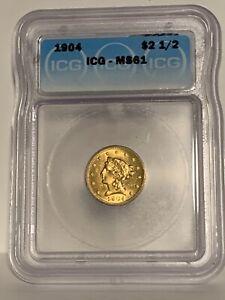 1904 $2.50 US Gold Liberty MS61 ICG Gorgeous Pre-33 Gold Quarter EAGLE!!