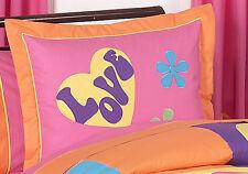 Pillow Sham for Sweet Jojo Designs Pink Groovy Peace Sign Girl Kid Bedding Set