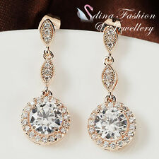 18K Rose Gold Plated Made With Swarovski Element Shiny Round Cut Halo Earrings