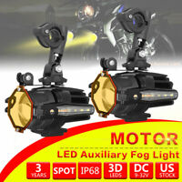 Motorcycle LED Auxiliary Fog Light Driving Spot Work Lamp Fit BMW F800GS R1200GS
