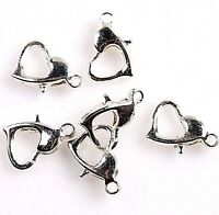 x6 FANCY HEART SHAPED LOBSTER CLASP, SILVER COLOUR, JEWELLERY MAKING *UK SELLER*