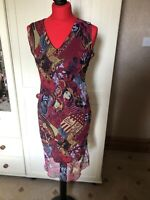 CACHE CACHE France Ladies Red Boutique Print Chiffon Sleeveless Dress Size 10