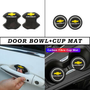 CHEVROLET Real Carbon Anti Scratch Badge Door Handle Bowl Cover+Cup Mat Combo