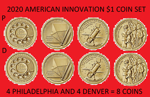 Complete 2020 P & D American Innovation Dollar 8 Coin Set - Uncirculated On Hand