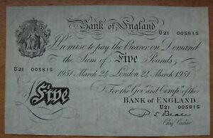 £5 pound white note (2) consecutive, 1951, U21 005815 and 16