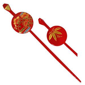 Japanese Geisha Kanzashi Hair Stick Hairpin Red Ume Cherry Blossom Made in Japan