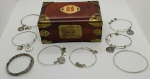 Alex and Ani Bracelet Lot  of 7 Silver Tone plus Wooden and Brass Jewelry Box