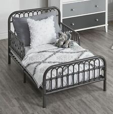 Toddler Bed Frame Rail Base Set Girls Boys Vintage Metal Child Bedroom Kids Gray