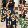 Women Summer Short Sleeve Sunflower Print Blouse Casual Swing Dress Maxi Dress