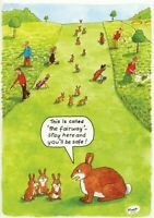 GOLF RABBITS ON FAIRWAY! FUNNY HUMOUROUS HAPPY BIRTHDAY CARD THE FUNNY SIDE O...