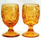 2 Antique Vintage Mid Century Modern Glass Goblet Amber Moon Stars Wedding Gift