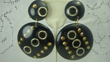 VINTAGE 1960'S LARGE RESIN & METAL HARDWARE DANGLE BLACK CLIP EARRINGS (T-21)