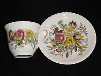 Old Johnson Bros England Windsorware Demitasse Cup & Saucer - Garden Bouquet
