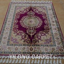 YILONG 3.5'x5' Oriental Handknotted Silk Rug Purple Indoor Floral Carpet 1754