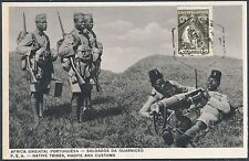 1933 Lorenzo Marques Mozambique postcard  cover African Soldiers with Machinegun