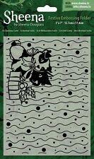 "SALE New Sheena Douglass Christmas Embossing Folder 5x7""  It's Christmas Scotty"