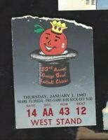 1987 Orange Bowl college football ticket Arkansas Razorbacks v Oklahoma Sooners