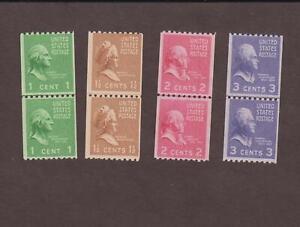 US,848,849,850,851,COIL LINE PAIR,MNH,VF,PREXIE,1938 PRESIDENTIAL SERIES MINT NH