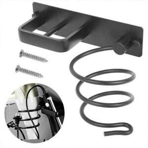 Professional Black Aluminium Wall Mounted Spiral Hair Dryer Holder Shelf Ra