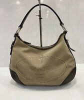 Vintage Prada Jacquard Hobo Bag Shoulder Satchel Handbag Brown Leather