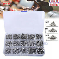 500Pcs M3 M4 M5 Assortment Screw Nuts Kit Head Cap Metric Socket Button Hex Bolt