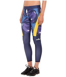 adidas by Stella McCartney Women's Floral Ink Navy Blue Techfit Tights Size L