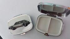 Triumph 2000 Mk1 Estate ref264 pewter effect car emblem on silver metal pill box