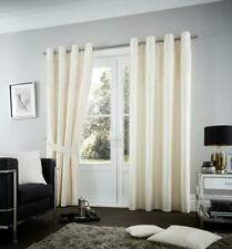 Fuel Curtain Ring Top Eyelet Fully Lined Faux Silk Pair of Curtains Ready Made
