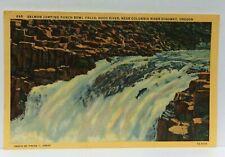 Hood River Oregon Salmon Jumping Punch Bowl Falls Linen Vintage Postcard