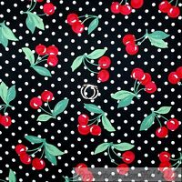 BonEful FABRIC FQ Cotton Quilt Black White Polka Dot Red Cherry Green Leaf Tree