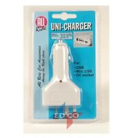 12V UNIVERSAL MOBILE PHONE CAR CHARGER 3 IN 1 SAT NAV MP3 USB MINI USB DC SOCKET