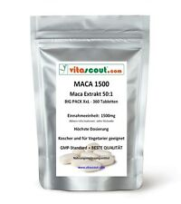 Maca Extrakt 1500! 360 Tabletten - SB*: Testosterone Hormone Potenz - VITASCOUT®