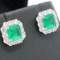 Genuine Natural 2Ct Green Emerald Diamond Halo Stud Earrings Jewelry Gold Plated