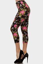 Leggings S-L (2-10) Capri Polyester Spandex ALWAYS Multi Floral Print Black NEW