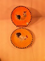 """LILLIAN VERNON--ROOSTER / CHICKEN---SET OF 2  SALAD PLATES--8""""--SHIPS FREE--EUC"""