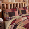 WYATT QUILTED Standard SHAM : COUNTRY CABIN LODGE RED BLACK PLAID PILLOW COVER