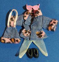 Kelly Doll Clothes Blue Denim Coat Dress Pink Leopard Purse Black Shoes Glasses