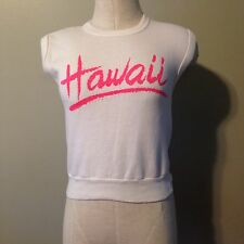 Vintage 80's Hawaii Sweatshirt Sleeveless Size Small White/Pink